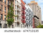 block of colorful old apartment ... | Shutterstock . vector #674713135