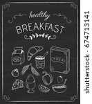 healthy breakfast doodles on... | Shutterstock .eps vector #674713141
