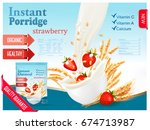 instant porridge advert concept.... | Shutterstock .eps vector #674713987