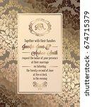 vintage baroque style wedding... | Shutterstock .eps vector #674715379