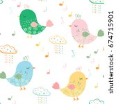 cute vector seamless pattern... | Shutterstock .eps vector #674715901