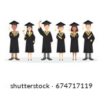 group of graduating students... | Shutterstock .eps vector #674717119