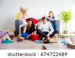 two sisters creating chaos | Shutterstock . vector #674722489