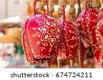 Ornate Red Souvenir Cow Bells...