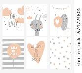 baby shower card design | Shutterstock .eps vector #674724805