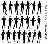 gesturing woman silhouettes | Shutterstock .eps vector #674725447