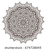 ethnic fractal mandala raster... | Shutterstock . vector #674728045