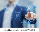 security consultant touching a... | Shutterstock . vector #674728681