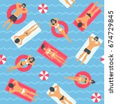 people swimming in the sea... | Shutterstock .eps vector #674729845