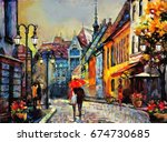 oil painting on canvas european ... | Shutterstock . vector #674730685