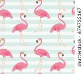flamingo pattern  vector ... | Shutterstock .eps vector #674732167