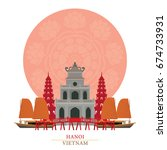 hanoi  vietnam with decoration... | Shutterstock .eps vector #674733931