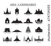 asia landmarks architecture... | Shutterstock .eps vector #674739355
