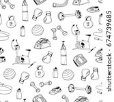 hand drawn doodle gym elements. ... | Shutterstock .eps vector #674739685