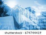 rear view of businesswoman... | Shutterstock . vector #674744419