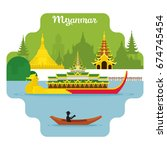 myanmar travel and attraction... | Shutterstock .eps vector #674745454
