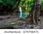 mountain stream and waterfall  | Shutterstock . vector #674746471