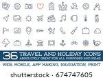 travel icons raster set  great... | Shutterstock . vector #674747605