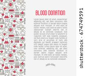 blood donation concept contains ... | Shutterstock .eps vector #674749591