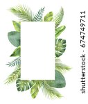 watercolor frame tropical... | Shutterstock . vector #674749711
