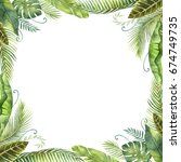 watercolor frame tropical... | Shutterstock . vector #674749735