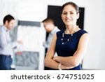 attractive office worker... | Shutterstock . vector #674751025