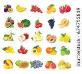 set of colorful cartoon fruit... | Shutterstock .eps vector #674752819