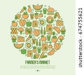 farmer's market concept in... | Shutterstock .eps vector #674755621