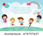 kids jumping on the playground  ... | Shutterstock .eps vector #674757637
