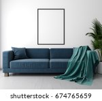 mockup poster in the interior... | Shutterstock . vector #674765659