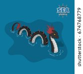 sea serpent in isometric style. ... | Shutterstock .eps vector #674768779