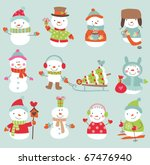 Set Of 11 Vector Cute And Funn...