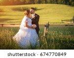 wedding couple on nature. | Shutterstock . vector #674770849