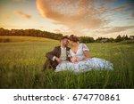 wedding couple on nature. | Shutterstock . vector #674770861