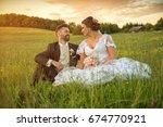 wedding couple on nature. | Shutterstock . vector #674770921
