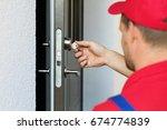 door lock service   locksmith... | Shutterstock . vector #674774839