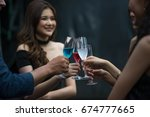 friends  women party drinking... | Shutterstock . vector #674777665