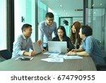 teamwork of asian business... | Shutterstock . vector #674790955
