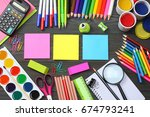 school and office supplies.... | Shutterstock . vector #674793241