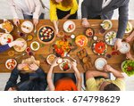 friends dinner table top view.... | Shutterstock . vector #674798629