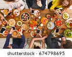 online at dinner. gadget device ... | Shutterstock . vector #674798695