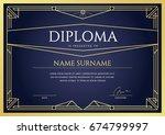 diploma or certificate premium...   Shutterstock . vector #674799997