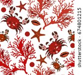 summer sea pattern with crabs... | Shutterstock .eps vector #674801215
