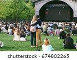 summer outdoor movie screenings ... | Shutterstock . vector #674802265