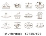 set of raster coffee elements... | Shutterstock . vector #674807539
