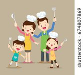 cute happy family cooking meal... | Shutterstock .eps vector #674807869