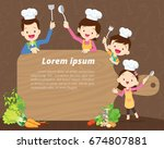 cute happy family cooking meal... | Shutterstock .eps vector #674807881