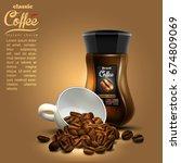 design of advertising coffee... | Shutterstock .eps vector #674809069