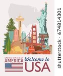 welcome to usa. united states... | Shutterstock .eps vector #674814301