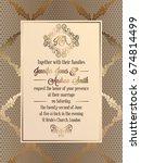vintage baroque style wedding... | Shutterstock .eps vector #674814499